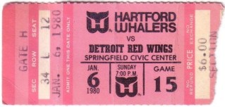 1980 NHL Red Wings at Whalers at Springfield ticket stub