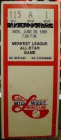 1989 Midwest League All Star Game ticket stub