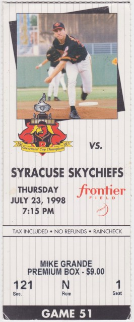 1998 MiLB International League Syracuse Skychiefs at Rochester Red Wings ticket stub