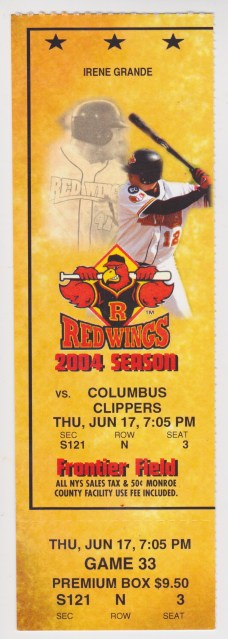 2004 MiLB International League Columbus Clippers at Rochester Red Wings ticket stub