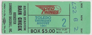 MiLB International League Toledo Mud Hens at Rochester Red Wings ticket stub