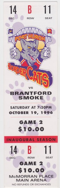 1996 UHL Brantford Smoke at Port Huron Border Cats ticket stub