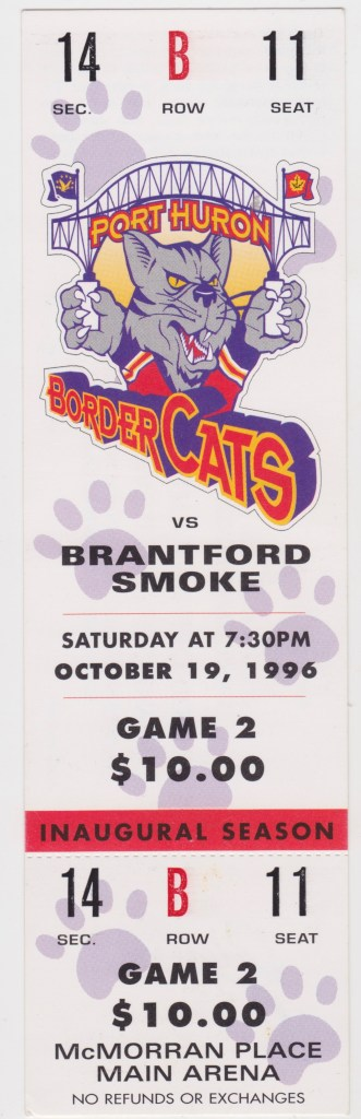 1996 Port Huron Border Cats unused ticket vs Brantford
