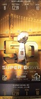 2016 Super Bowl Panthers vs Broncos ticket stub