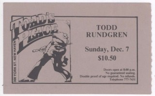 1986 Todd Rundgren New Haven Toad's ticket stub