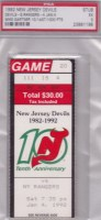1992 NHL Rangers at Devils ticket stub Mike Gartner 1000 pts