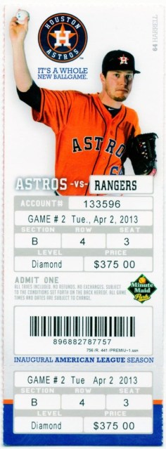 2013 MLB Rangers at Astros ticket stub