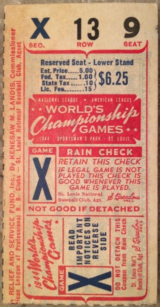 1944 World Series Game 6 Browns at Cardinals Ticket Stub 250