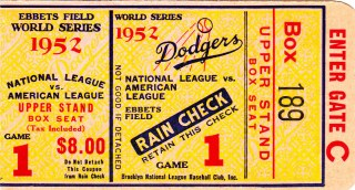 1952 World Series Game 1 Yankees at Dodgers Ticket Stub 100
