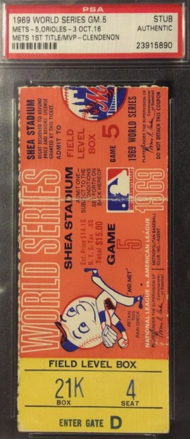 1969 World Series Game 5 Orioles at Mets ticket stub 299