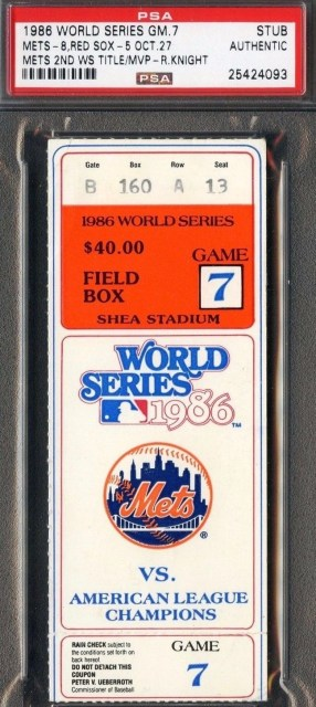 1986 World Series Game 7 Red Sox at Mets Ticket Stub