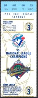 1992 World Series Game 3 ticket Braves at Blue Jays