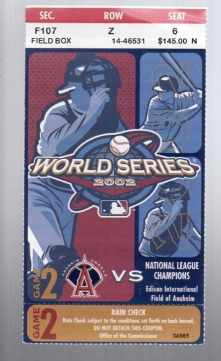 2002 World Series Game 2 Giants at Angels ticket stub