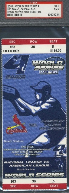 2004 World Series Game 4 Red Sox at Cardinals ticket stub