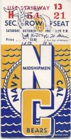 1957 NCAAF Navy at California ticket stub
