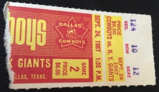1967 NFL New York Giants at Dallas Cowboys Ticket Stub 11.50