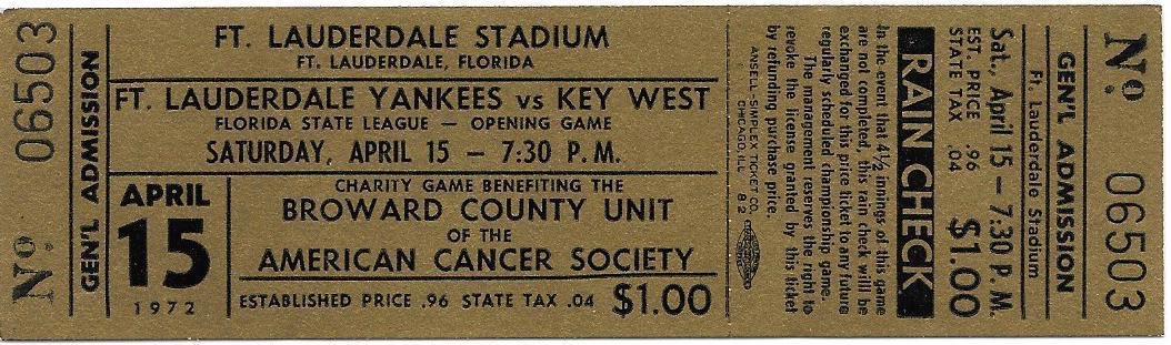 1972 Ft Lauderdale Yankees ticket stub vs Key West Conchs
