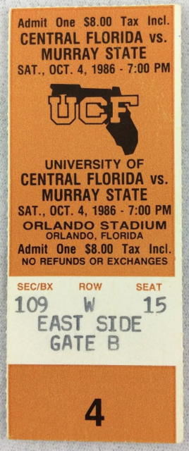 1986 NCAAF Murray State at Central Florida ticket stub