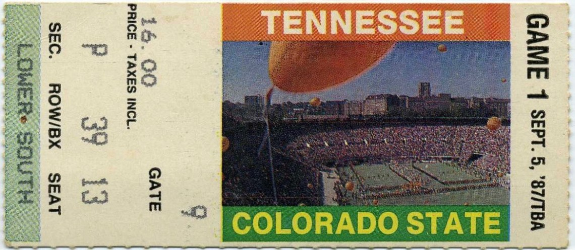1987 NCAAF Colorado State at Tennessee ticket stub