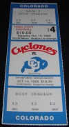1989 NCAAF Colorado at Iowa State ticket stub