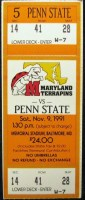 1991 NCAAF Penn State at Maryland ticket stub