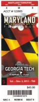 2012 NCAAF Georgia Tech at Maryland ticket stub