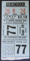 1957 MLB Pirates at Giants final Polo Grounds game ticket stub