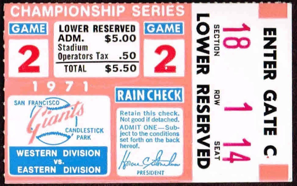 1971 NLCS Game 2 Pirates at Giants ticket stub Willie Mays HR