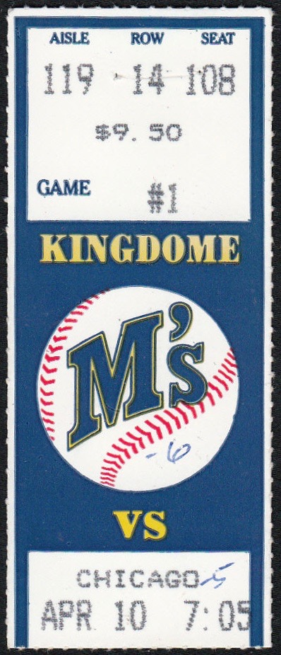 1989 MLB White Sox at Mariners ticket stub Ken Griffey Jr 1ST Home Run