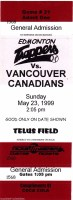 1999 Edmonton Trappers ticket stub vs Vancouver