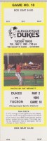 1989 Albuquerque Dukes unused ticket vs Tucson