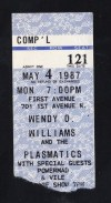 1987 Plasmatics Minneapolis First Avenue Ticket Stub