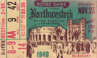 1940 NCAAF Notre Dame at Northwestern ticket stub 35