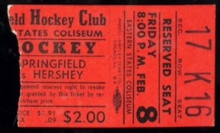 1950s AHL Hershey Bears at Springfield Indians ticket stub 6