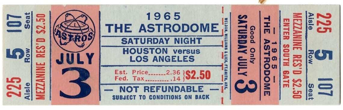 1965 MLB Dodgers at Astros baseball ticket stub