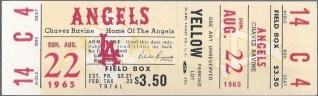 1965 MLB Twins at Angels ticket stub 34