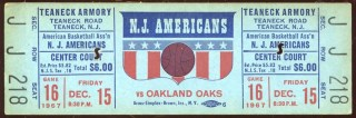 1967 ABA Oakland Oaks at New Jersey Americans Ticket 95