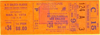 1974 WHA Whalers at Golden Blades ticket stub 30