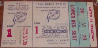 1954 World Series Game 1 Willies Mays The Catch ticket stub 550