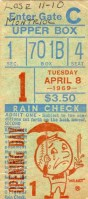1969 MLB Expos at Mets ticket stub Montreal's inaugural game