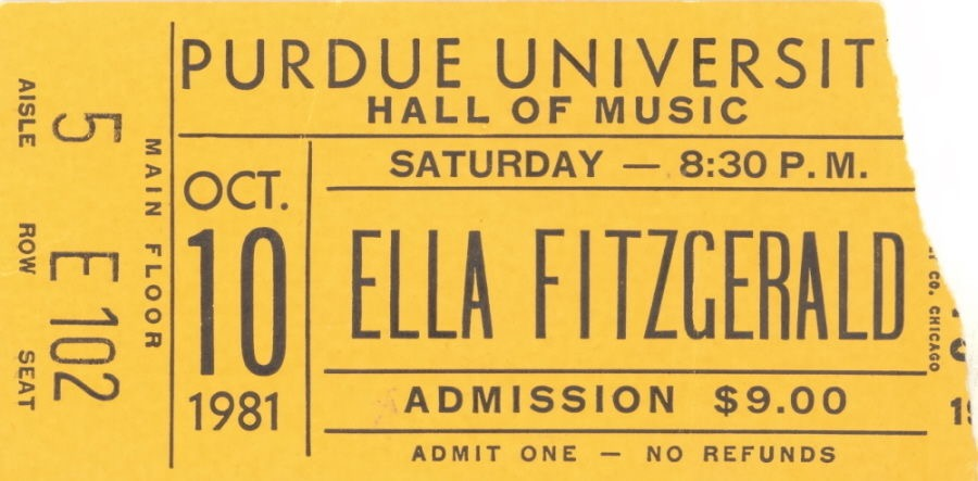 1981 Ella Fitzgerald Purdue University Ticket Stub