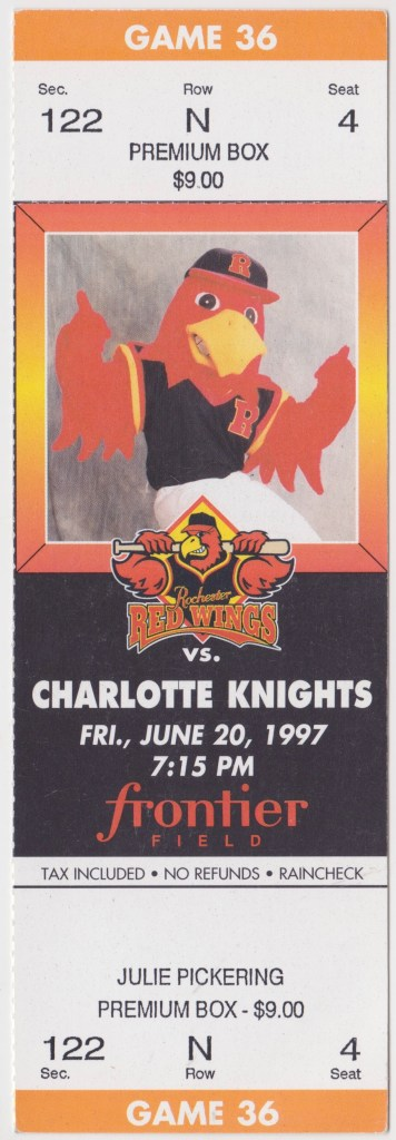 1997 Rochester Red Wings ticket stub vs Charlotte