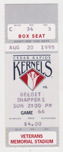 1995 MiLB Midwest League Beloit Snappers at Cedar Rapids ticket stub