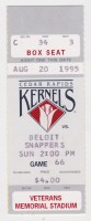 1995 Cedar Rapids Kernels ticket stub vs Beloit