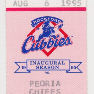 1995 Rockford Cubbies ticket stub vs Peoria Chiefs 8/6/1995