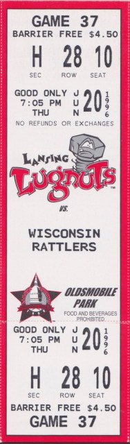 1996 MiLB Midwest League Wisconsin Timber Rattlers at Lansing Lugnuts ticket stub