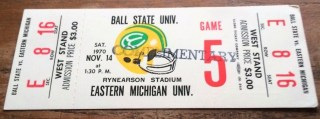 1970 NCAAF Ball State at Eastern Michigan ticket stub