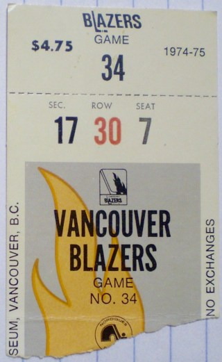 1975 WHA Vancouver Blazers ticket stub vs Quebec