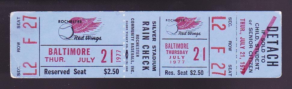 1977 MiLB MLB Red Wings vs Orioles ticket