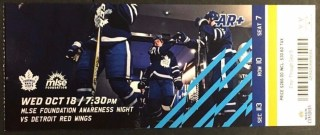 2017 NHL Red Wings at Maple Leafs ticket stub